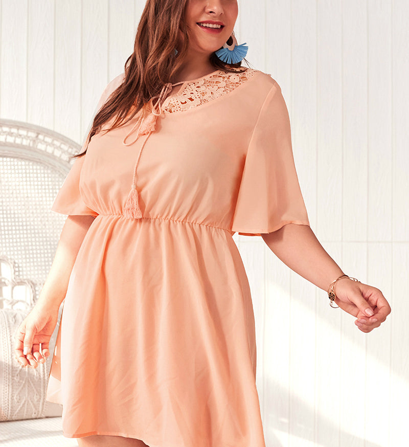 Summer Solid Color Cutout Plus Size Dress