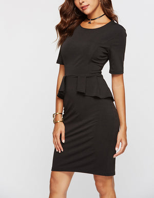Solid Color Elegant Office Lady Dress