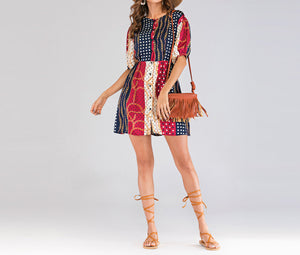 Chain-breasted Short-sleeved Dress