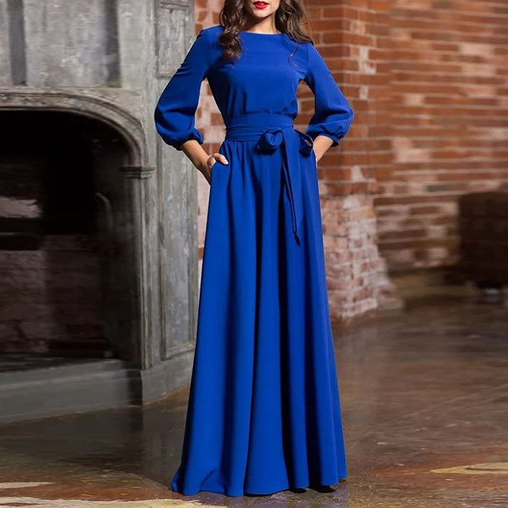 Round Neck Casual Long Dress Beautiful Retro Three Seasons Sleeve Dress Women's Clothing