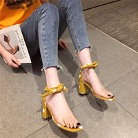 Word Strap Sandals Female Fairy Wind Summer Fashion Thick with Wild Net Red High Heels