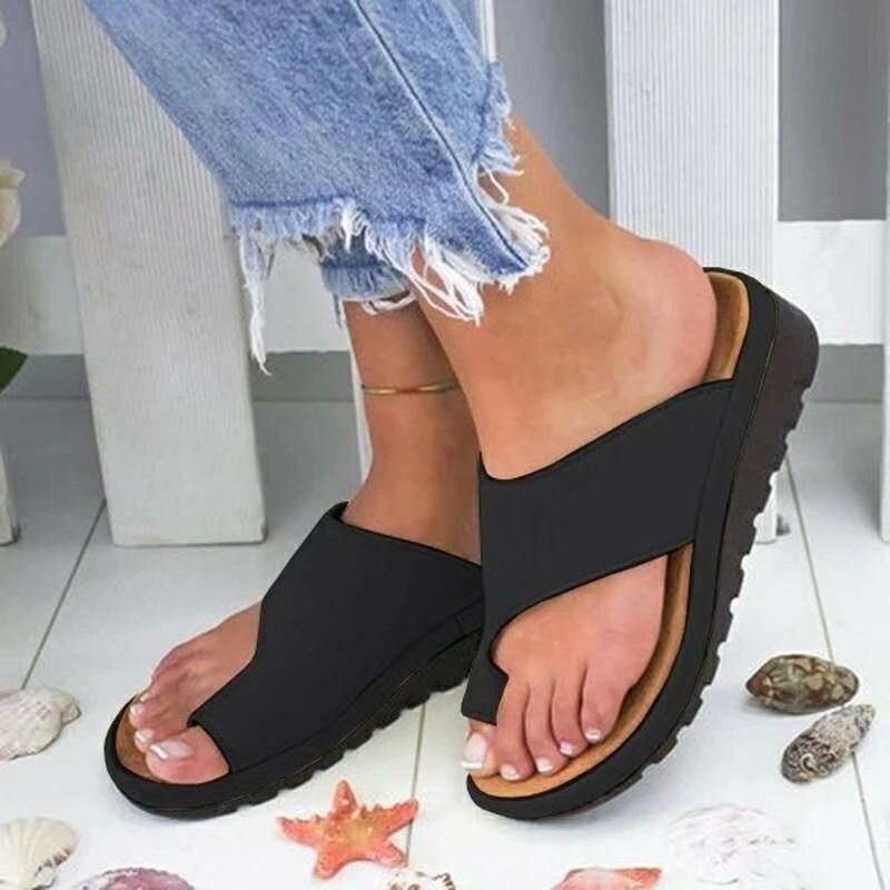 Large Size Women's Shoes Wearing Leather Slippers, Toe Sandals and Slippers