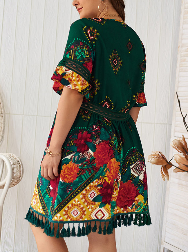 Plus Size V-neck Printed Bohemian Holiday Dress