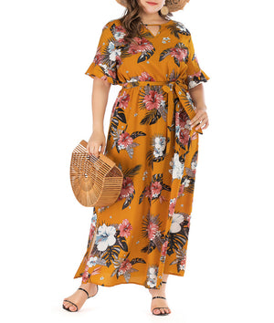 Bohemian Large Size Short Sleeve V-neck Dress