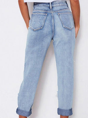 High Waist Loose Washed Denim Irregular Hole Trousers