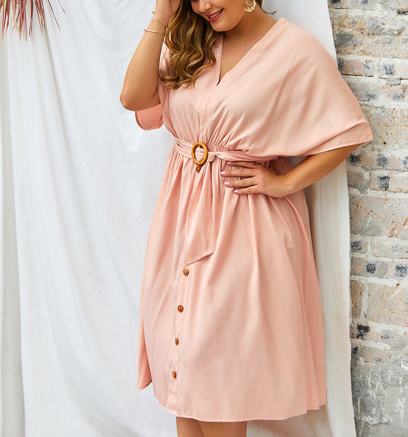 Large Size V-neck New Solid Color Sleeve Dress