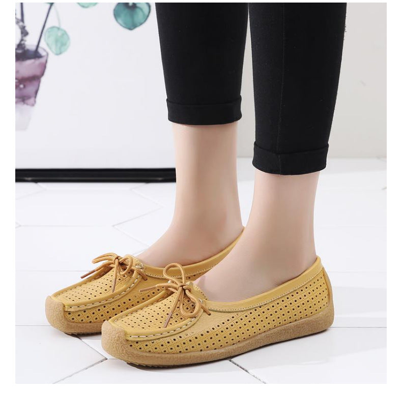 Soft Bottom Pregnant Peas Shoes Four Seasons Flat Shoes A Pedal Mother Shoes Hollow Breathable Casual Single Shoes Female Summer