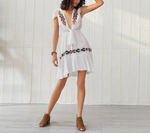 Bohemian Embroidered Deep V Strap Short Sleeve Dress