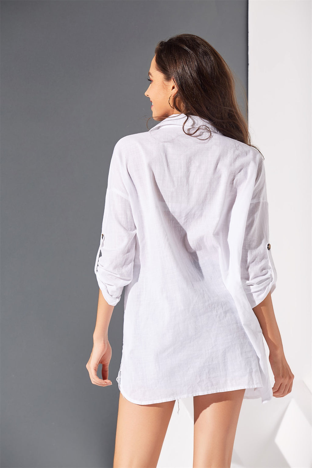 Autumn New Cotton And Linen Shirt Solid Color Dress
