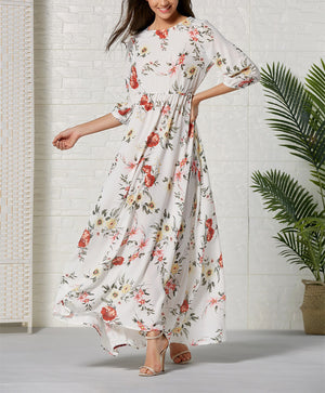 Bohemian Print Mid-sleeve Maxi Dress