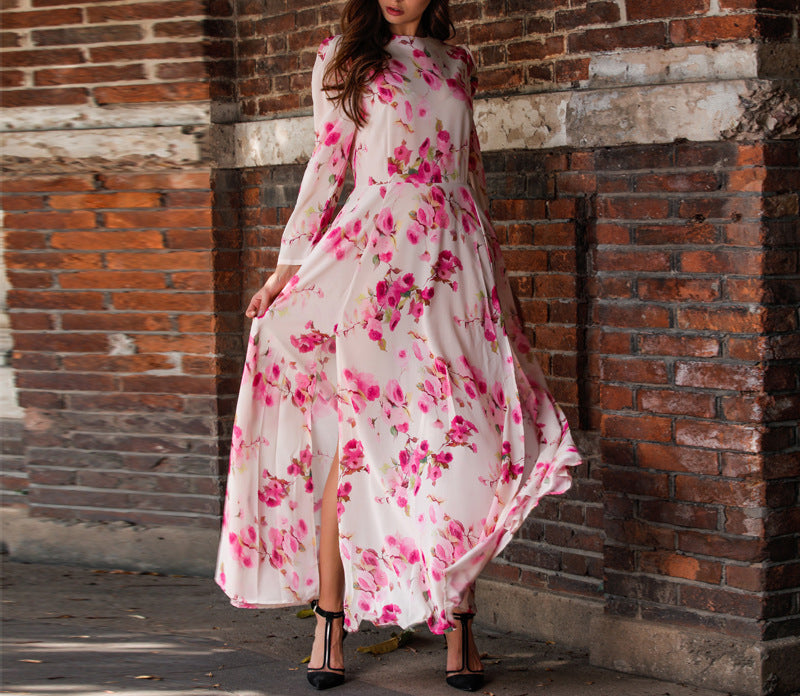 Bohemian High-open Flower Print Large Swing Dress