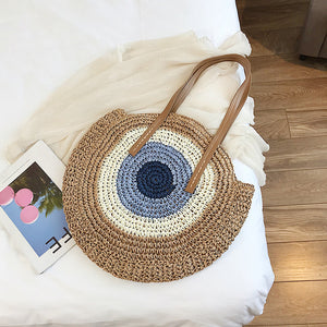 Woven Contrast Color Straw Bag Tide Fashion Large Capacity Wild Holiday Beach Bag Simple Shoulder Bag