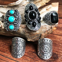 Vintage Tibetan Silver Palace National Wind Exotic Combination Ring Earrings Miao Silver Bracelet Set