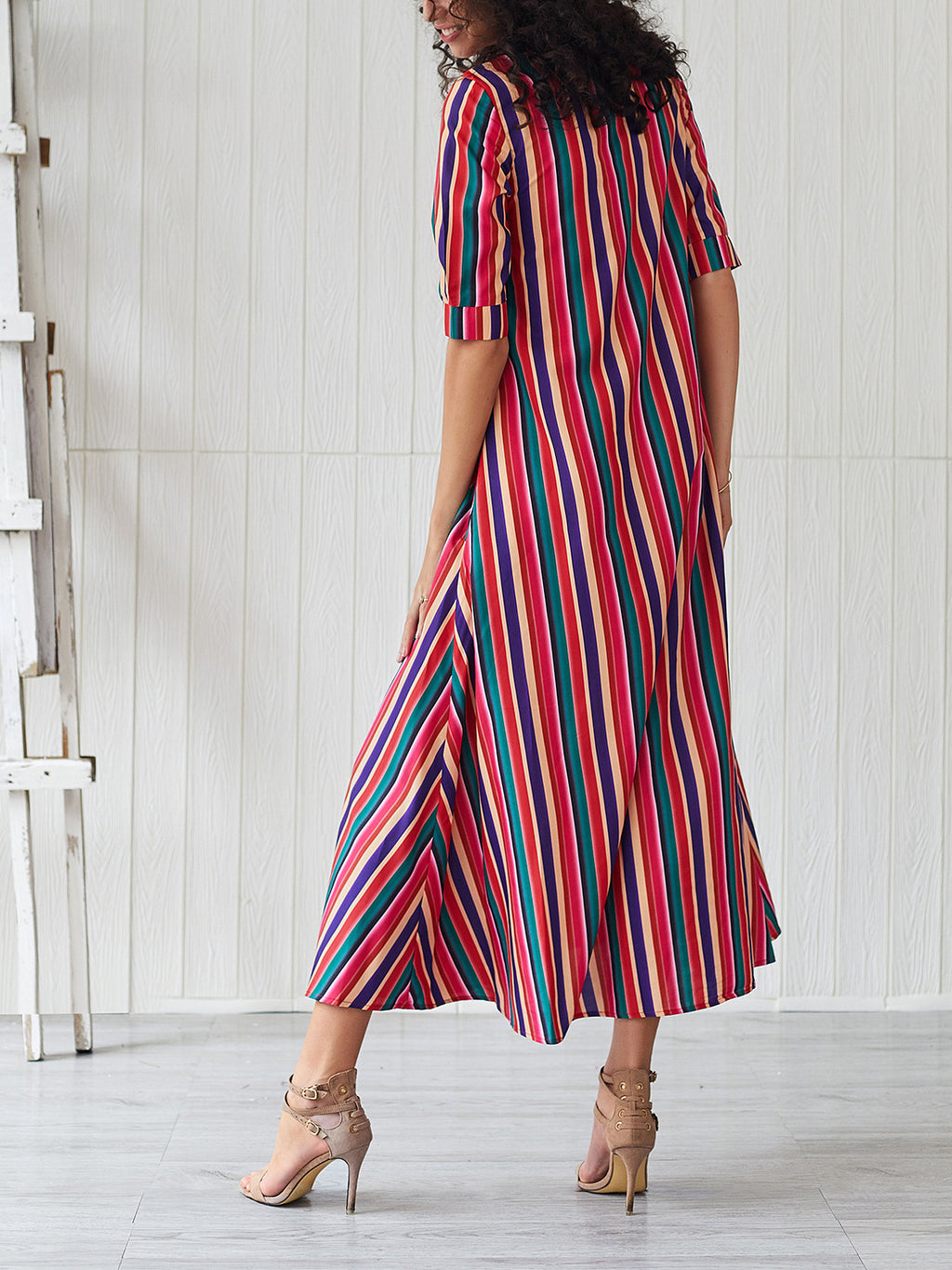 Half-sleeve Rainbow Striped Loose Bohemian Dress