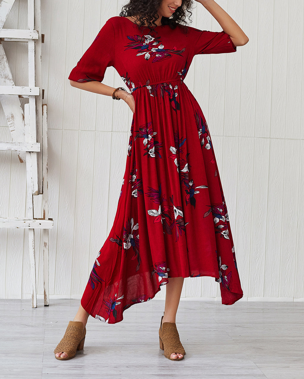 Bohemian Print Long Sleeves Waist Maxi Dress