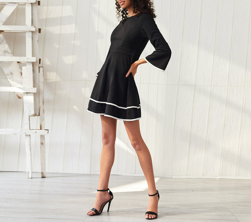 Slim-fit A-line Trumpet Sleeve Contrast Stitching Dress