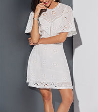 Embroidered Openwork Lace-paneled Halter Dress
