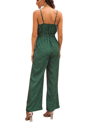 Chest Knotted Straps Slings Onesies Printed Wave Point Casual Loose Trousers Jumpsuit