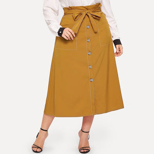Large Size Women's Contrast Color Single-breasted Skirt