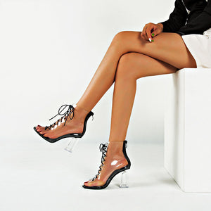 Summer Fish Mouth Super High Heel with Transparent Crystal Thick with Sexy Nightclub Sandals