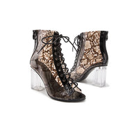 Summer Snakeskin Leopard Sandals Women's Transparent Thick Heel Shoes Fashion Increased Crystal Shoes Sandals