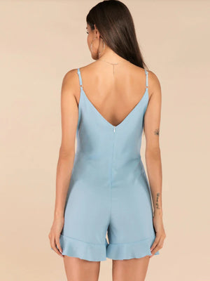 Casual Sky Blue Sling Ruffled Jumpsuit