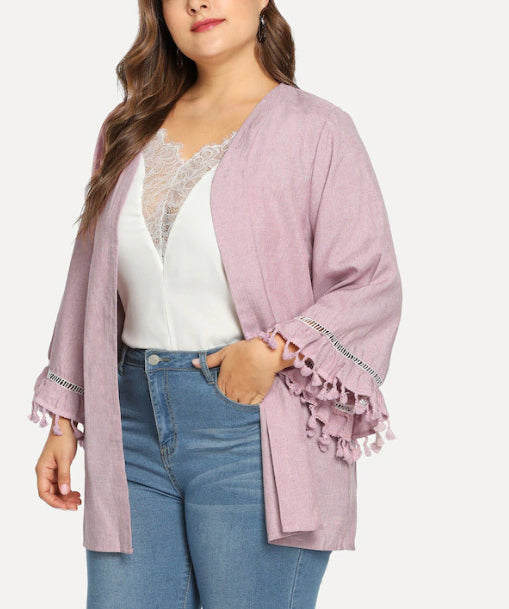 Plus Size Long Sleeved Collarless Jacket Tassel Cuff Cardigan