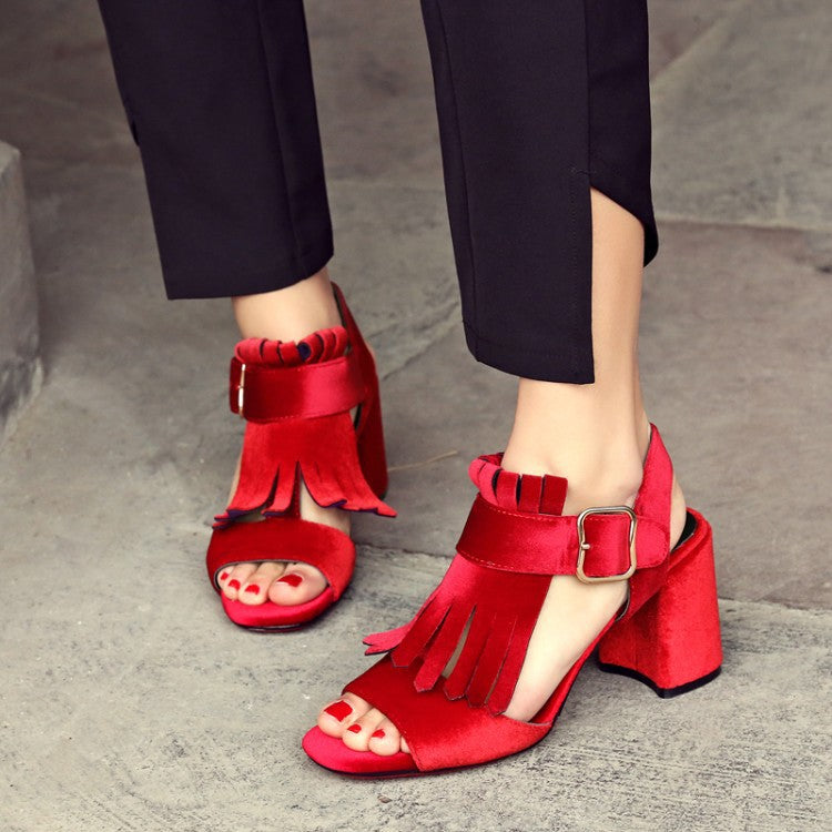 Matte Suede Thick with Belt Buckle High Heel Tassel Shoes Female Fish Mouth Sandals High Heels