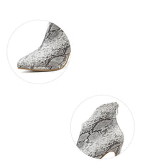Snakeskin Chelsea Boots Women's Back Zipper Boots Pointed Stiletto High Heel Boots