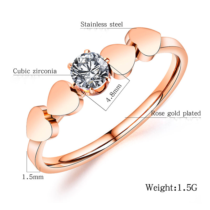 Fashion Diamond Heart Ring
