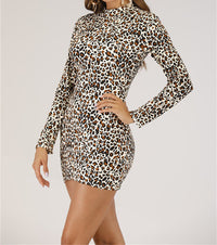 Sexy Stand-up Long-sleeved Slim Leopard Dress
