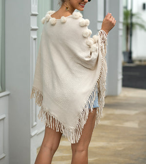Shawl Hair Ball Round Neck Pullover Solid Color Sweater