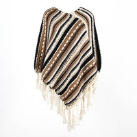 Fringed Cloak Shawl Diagonal Striped Sweater