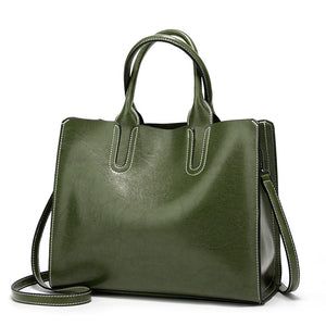 PU Female Bag Solid Color Tote Bag Retro Handbag