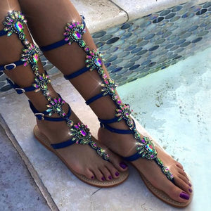 Rhinestone Hollow Roman Sandals Pin Toe Flat Shoes Large Size Women's Shoes