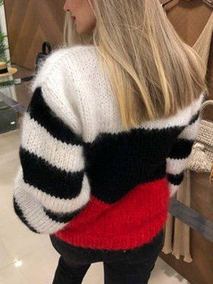 Women Classic Striped Contrast Sweater