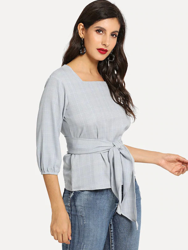 Autumn New Cropped Sleeves Women's Shirt Plaid with Belt Tops Blouse T-shirt