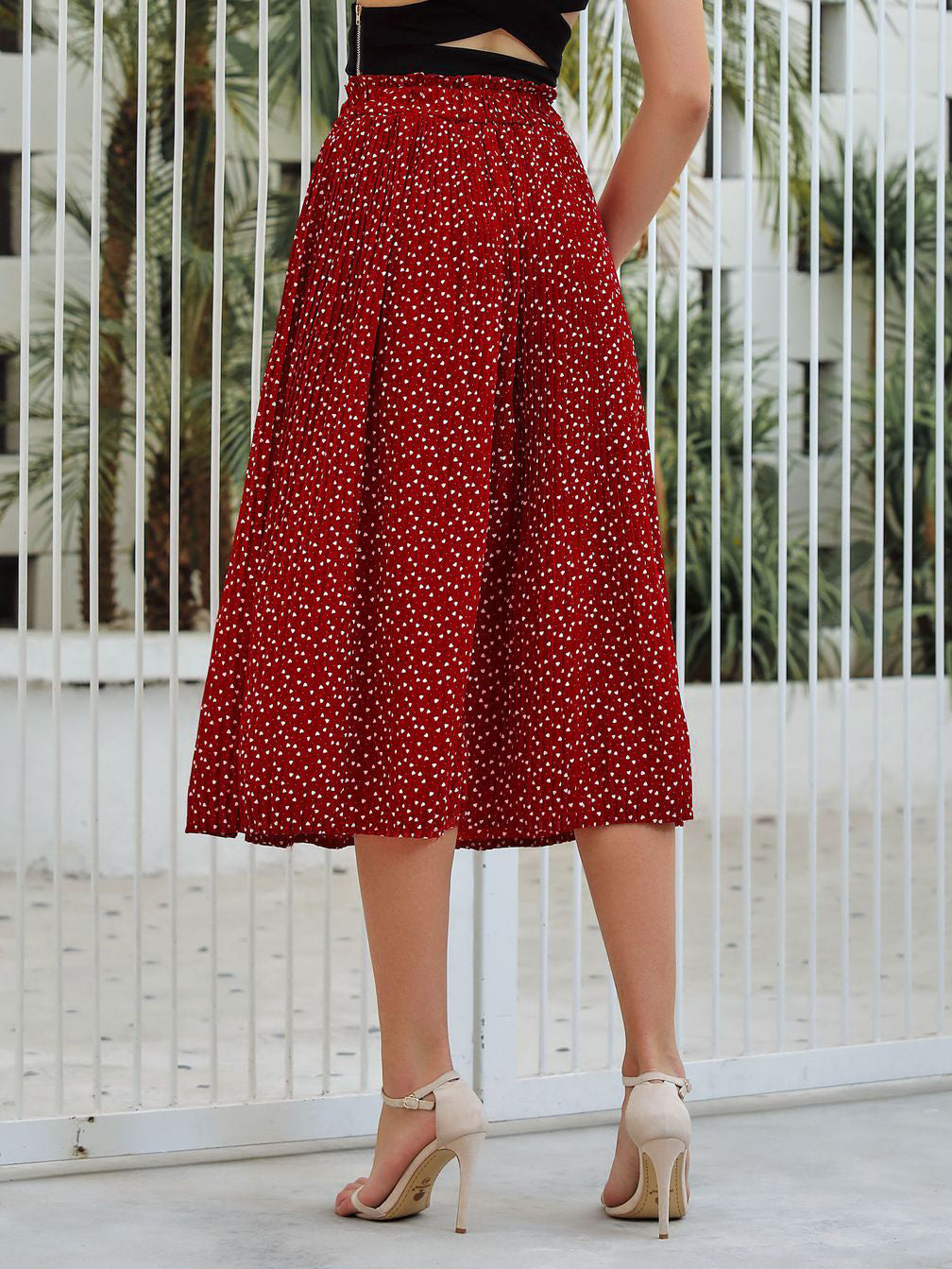 Pleated High Waist Mid-length Skirt