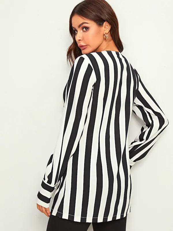 Autumn and Winter New Women's Long-sleeved Striped Shirt
