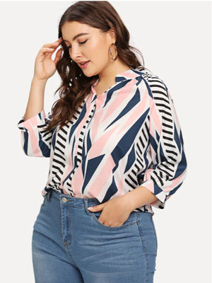 Large Size Women's Digital Printing Lattice Stand Collar Shirt Fat Sister Sleeve Loose Shirt
