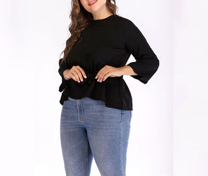 Plus Size Round Neck T-shirt Bottoming Shirt