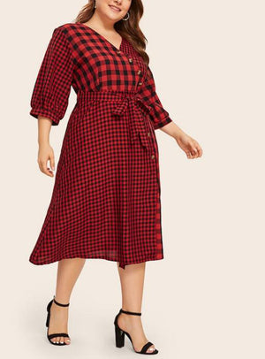 Plus Size Round Neck Red Plaid Stitching Long Belt Shirt Dress