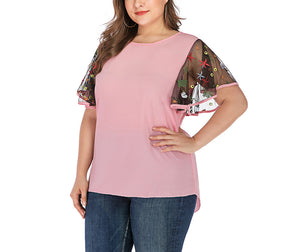 Large Size Short Sleeve Embroidered Ruffled Sleeve T-shirt