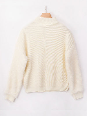 Autumn and Winter Sweaters Three-color Stitching Loose Knit Mohair Sweater