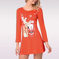 Christmas Dress Snowman Elk Print Women's Long Sleeve Dress