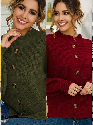 Autumn and Winter Women's Four-color Long-sleeved Button Front and Back Two-piece Pullover Sweater