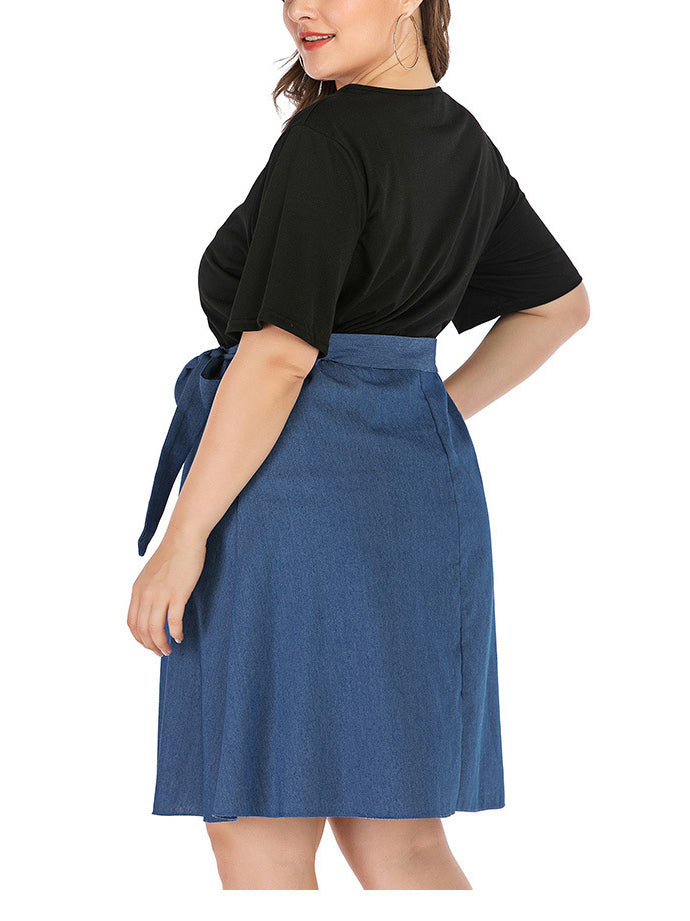 Plus Size Black Short Sleeve Stitching Denim Dress
