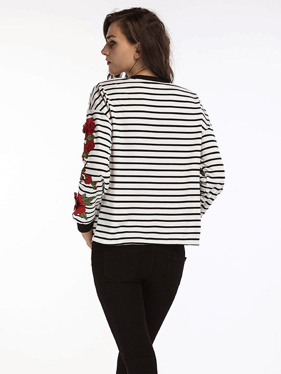 Autumn Women's T-shirt New Round Neck Long-sleeved Striped Embroidered T-shirt
