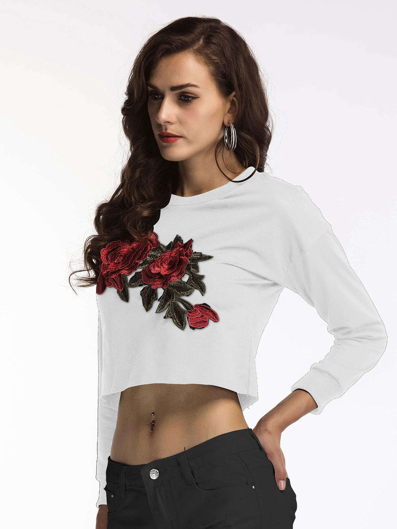Women's Tops Autumn T-Shirt Round Neck Long Sleeve Short Embroidered Top T-Shirt