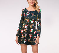 Casual Christmas Printed Dress Long Sleeve Dress